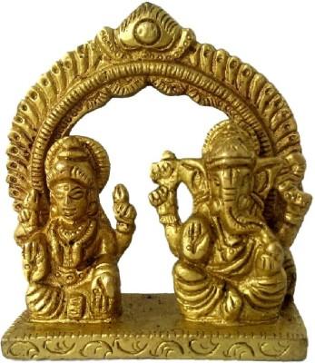Divine Temples Small Lakshmi Ganesha Showpiece  -  7 cm(Brass, Gold)