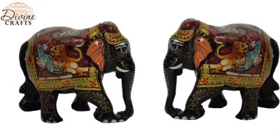 Divinecrafts Set of 2 Shikar Painted Elephant Statue Showpiece Showpiece  -  5.3 cm