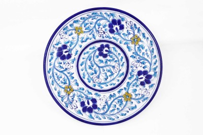 KOLAMBAS KOLAMBAS Blue Pottery Plate Home Decorative Handicraft Gift Showpiece  -  3.5 cm(Pottery, Blue)