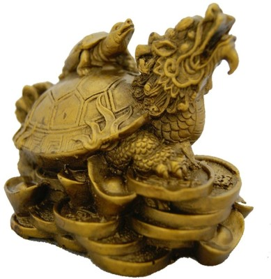 Divya Mantra Feng Shui Dragon Headed Tortoise With Baby for Overall Success Showpiece  -  7.5 cm