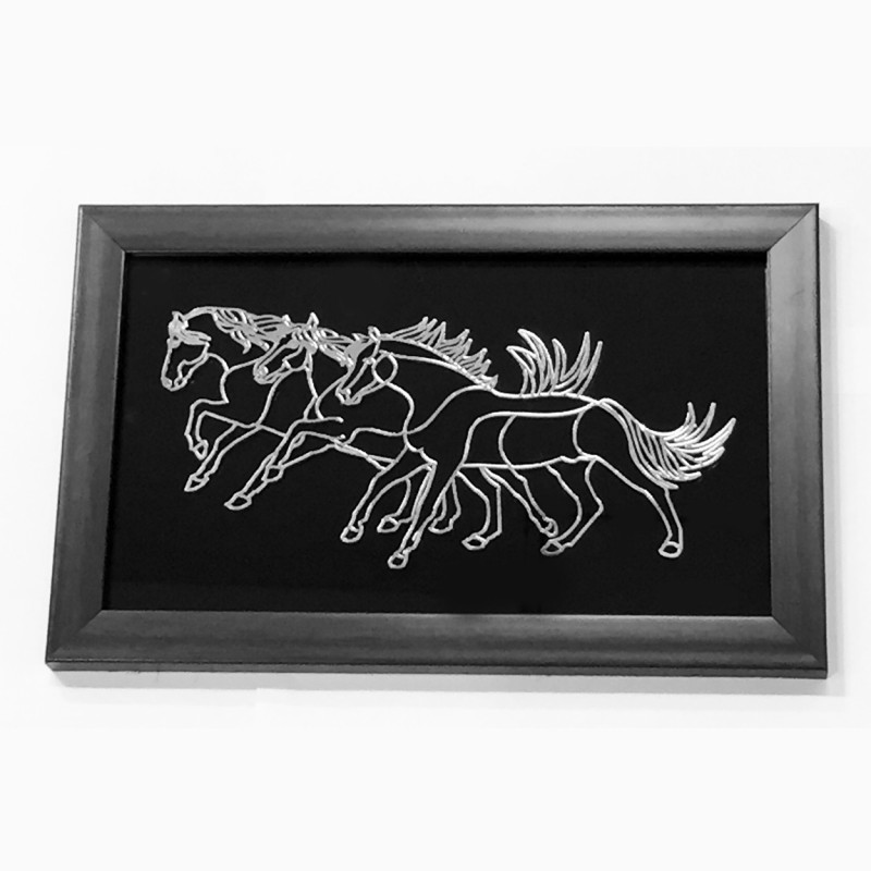 Belirams Framed Racing Horses Showpiece  -  18 cm(Silver, Polyresin, Glass, Silver, Multicolor)