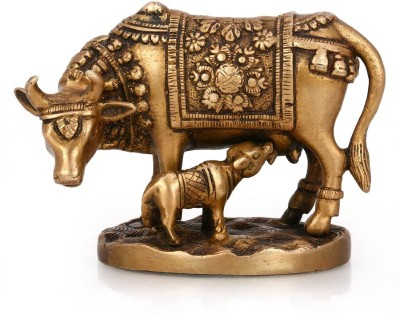 Purpledip Antique Brass Kamdhenu Cow and Calf Showpiece  -  10 cm