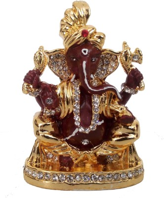 Divyas Gold Plated Pagdi Ganesh Idol (Brown) Showpiece  -  7 cm