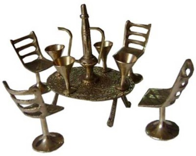 Glori-fyi Brass Antique Handcrafted Table-chairs Set Showpiece  -  10 cm