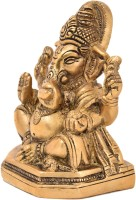 Bharat Haat Ganesh Siting Showpiece  -  10 cm(Brass, Brown)