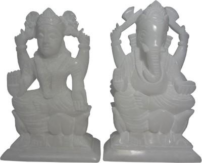 Avinash Handicrafts White Stone Ganesha-Laxmi 16 cm Showpiece  -  16 cm