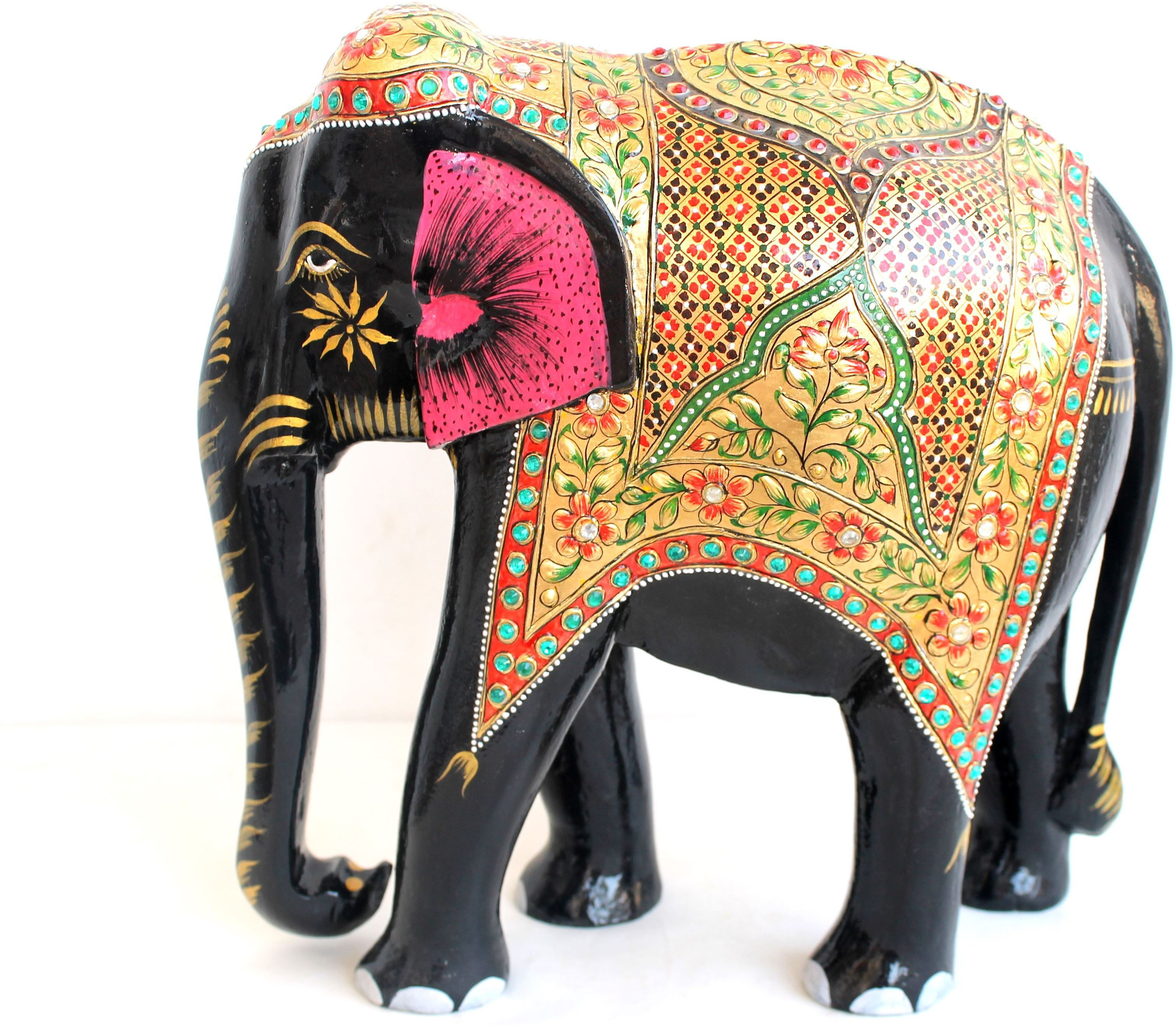 Craft International Wooden Elephant Gold Painted - 12 Inch Showpiece  -  31 cm(Wooden, Multicolor)