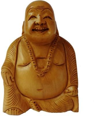 Artifa Wooden Laughing Buddha Showpiece - 13 cm