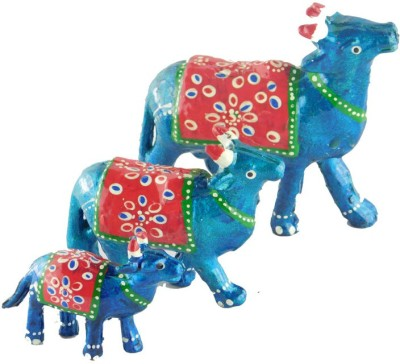 Chave Cow Set of Three ( Three cow in one pack – Large + medium + small ) with artistic painting of Rajasthan Showpiece  -  4 cm