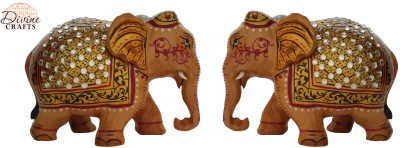 Divinecrafts Set of 2 Kundan Studed Elephant Statue Showpiece Showpiece  -  8 cm