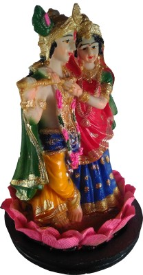 Giftvalley Exclusive Radha Krishna Lotus Statue Showpiece  -  20 cm