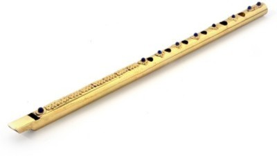 Gruvi Enterprises Pure Brass Gemstone Studded Handcrafted Flute Showpiece  -  7 cm