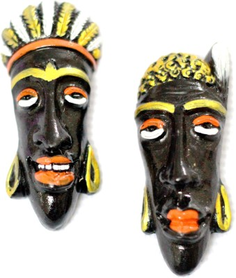 SrinidhiHandiCreations Tribal Face Masks Wall Decor Showpiece  -  8 cm