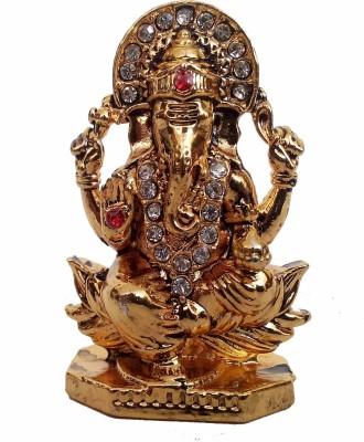 Divyas Gold Plated Ganesh Idol For Car Dash Board Or Home DéCor Showpiece  -  6 cm