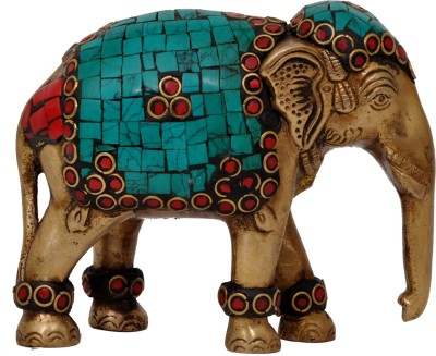 Aesthetic Decors Elephant Trunk Down With Stone Work Showpiece  -  10.2 cm