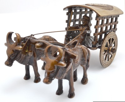 Handecor Village Bullock Cart Showpiece  -  7.5 cm(Brass, Brown, Gold)
