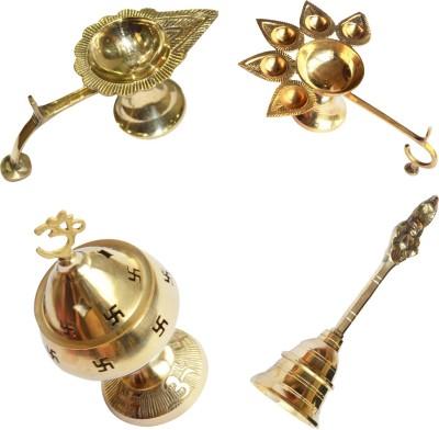 Anjalika Brass Puja Items Combo of 4 pieces Showpiece  -  13 cm