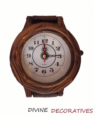 Divinecrafts Decorative Foldable Wooden Wall Clock Showpiece  -  33 cm(Wooden, Brown)