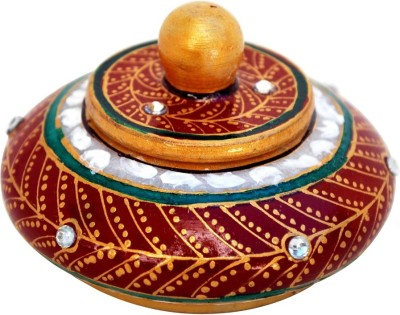 Handicrafts Paradise Marble Hand Painted Sindoor Dani With Kundans Showpiece  -  5 cm