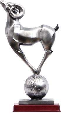 Furncoms Goat With Globe Showpiece  -  23 cm