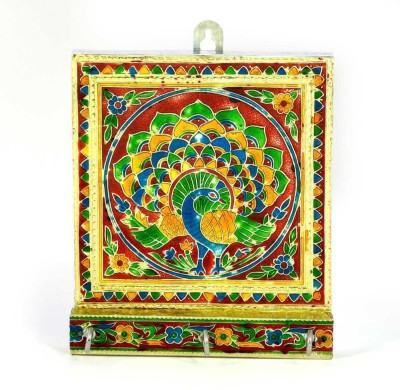 Little India Meenakari Artwork 3 Stand in White Metal Cast Iron Key Holder