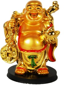 Sigaram Happy Man - Laughing Buddha Idol, best suited for Office-Desk, Table Decor, Home, shop and Car Dashboard - K461 Showpiece - 10 cm(Microfibre, Multicolor)