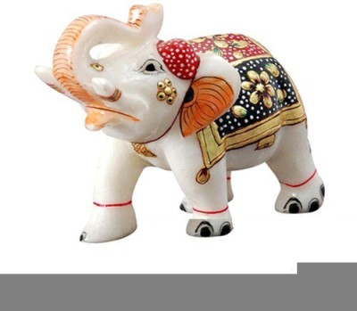 Radhey Marble Marble Elephent With Beautifull Desine Showpiece  -  5 cm