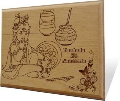 Tiedribbons Yashoda Ka Nandlala Engraved Plaque Showpiece  -  20 cm(Wooden, Brown)