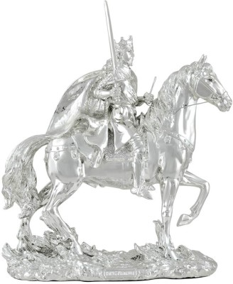 Shaze Horseback With Excalibur Showpiece  -  30 cm(Silver, Silver)