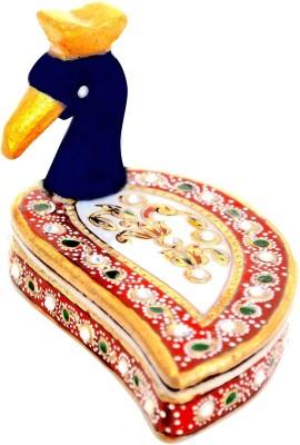 Handicrafts Paradise Marble Meena Roli Tika Holder Showpiece  -  7.5 cm
