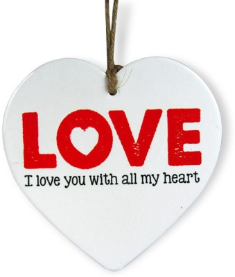 Archies Love You With All My Heart Quotation Showpiece  -  15.3 cm(Ceramic, White)