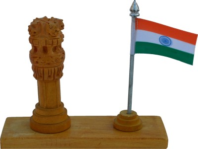 eCraftIndia Wooden Ashoka Pillar with National Flag Showpiece  -  13.97 cm