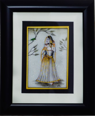eCraftIndia Ragini Marble Painting with Parrot (Wooden Framed) Showpiece  -  27.94 cm(Stoneware, Wooden, Multicolor)