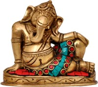 Aesthetic Decors Ganesha Lying with Stone Work Showpiece  -  7.6 cm(Brass, Multicolor)