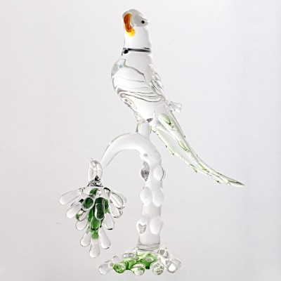 Sutra Decor Crystal Parrot With Grapes Showpiece  -  18 cm