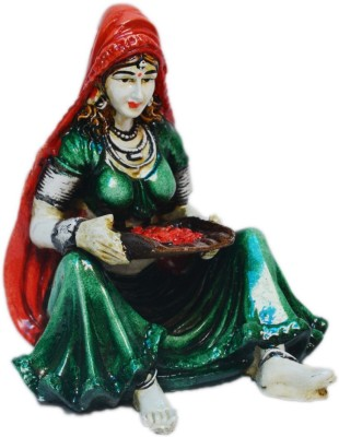eCraftIndia Rajasthani Lady Showpiece  -  15.24 cm(Polyresin, Green, Orange)