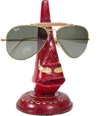 Smile2u Retailers Rajasthani art worked Nose Shape Spectacle holder Specs stand Showpiece  -  15 cm(Wooden, Red)