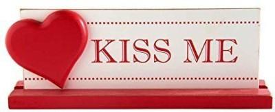 K&K Interiors White Kiss Me Tabletop Showpiece  -  8.8 cm