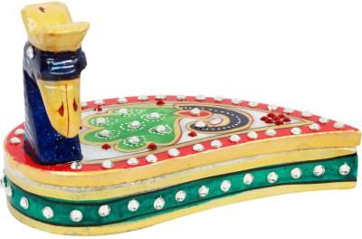 Mewar handicrafts Kundan Work Marble Peacock Roli Sindoor Vas 109 Showpiece  -  7.5 cm