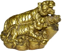 Anjalika Fengshui Tiger Couple with Money Frog Showpiece  -  5 cm(Polyresin, Gold) best price on Flipkart @ Rs. 500