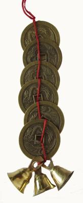Plus Value Feng Shui Vastu Bell- 3 Brass bell - 6 Brass coins Showpiece - 12 cm