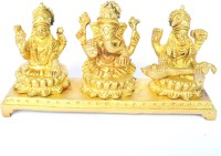 Aakrati Lakshmi, Ganesha and Saraswati Statue Showpiece  -  8.5 cm(Brass, Yellow)