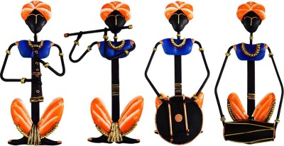 DIZIONARIO Wrought Iron Rajasthan Musician Set of 4 Designed Handcrafted Decorative Wall Hanging 16x32cm Showpiece  -  32 cm