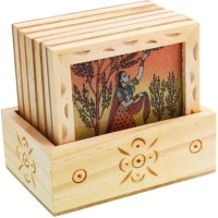 Halowishes Square Wood Coaster Set(Pack of 6)