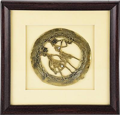 Vidushi Dhokra Jaali Frame Showpiece  -  20 cm(Alloy, Yellow)