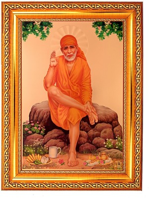BM Traders Golden Foil Photo Of Sai Baba With Golden Frame Showpiece  -  40.64 cm