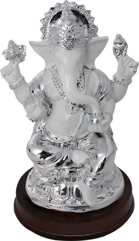 Art N Hub God Ganesh / Ganpati / Lord Ganesha Idol- Handicraft Decorative Home & Temple Décor God Figurine / Statue Gift item Showpiece  -  13 cm(Earthenware, Wooden, Silver)