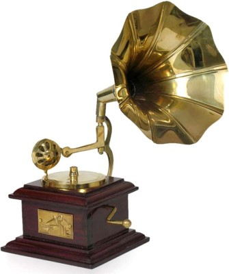 Raghunath Toy Gramaphone Showpiece  -  24 cm(Brass, Brown, Gold)