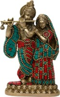 Aesthetic Decors Radha Krishna Standing With Stone Work Showpiece  -  15.2 cm(Brass, Multicolor)