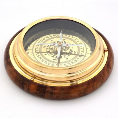 Tradition India n Real Nautical Compass Showpiece  -  15.24 cm(Wooden, Silver)